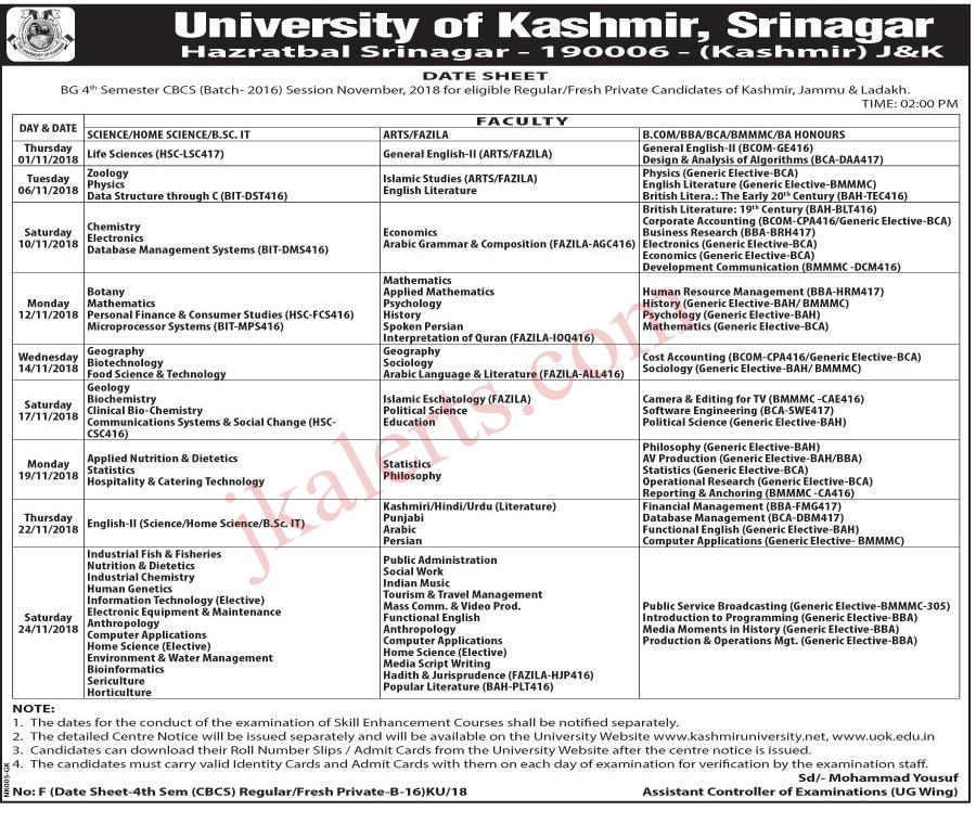 kashmir University date sheet BG 4th sem