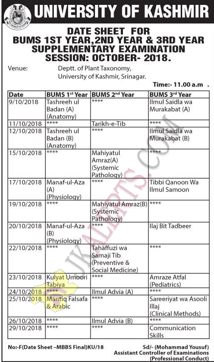 kashmir university BUMs Date sheet