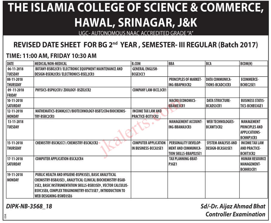 Islamia College of Science and Commerce Revised Date Sheet