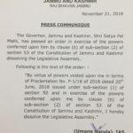 Breaking News. J&K Assembly dissolved