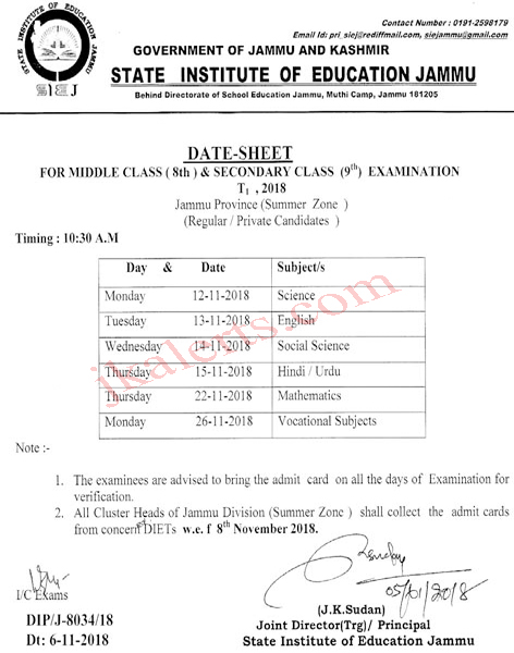 Date Sheet for 8th and 9th class Examination T1 2018