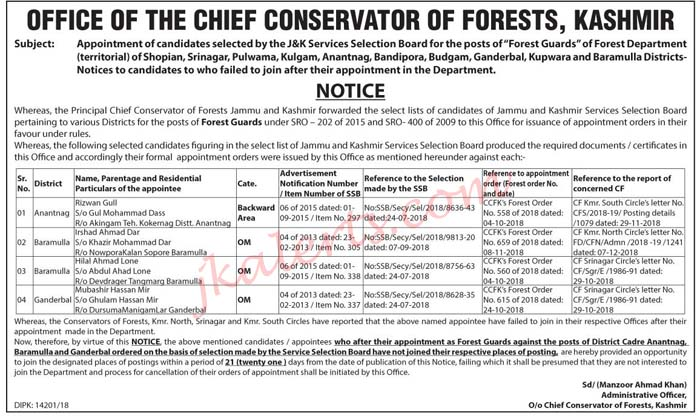 Appointment of candidates selected by the JKSSB  for the posts of Forest Guards of Forest Department.