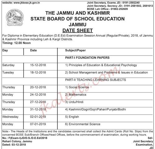 JKBOSE Date Sheet For Diploma in Elementary Education (D.E.Ed)