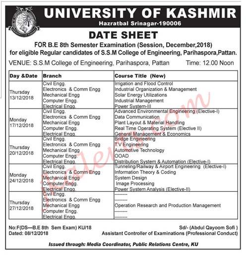 kashmir university BE Date Sheet