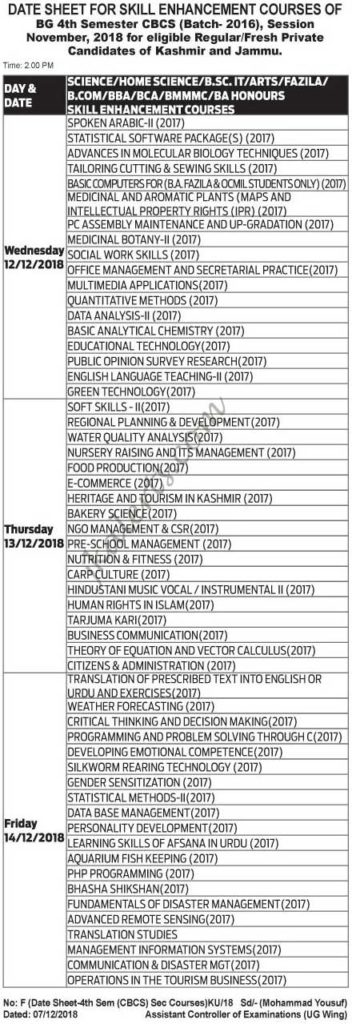 Kashmir University Date Sheet for Skill Enhancement Courses