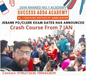 Success Adda Academy, Crash Course, JKBANK, J&K Bank, JK bank Jobs, J&K Bank Recruitment