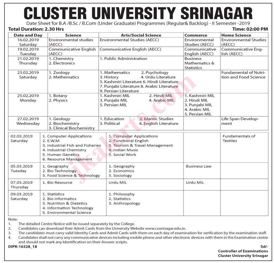 cluster university srinagar Jobs