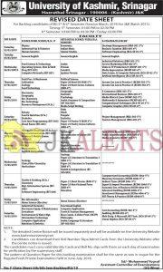 Kashmir university Revised Date Sheet, Kashmir university update, KU Date sheet