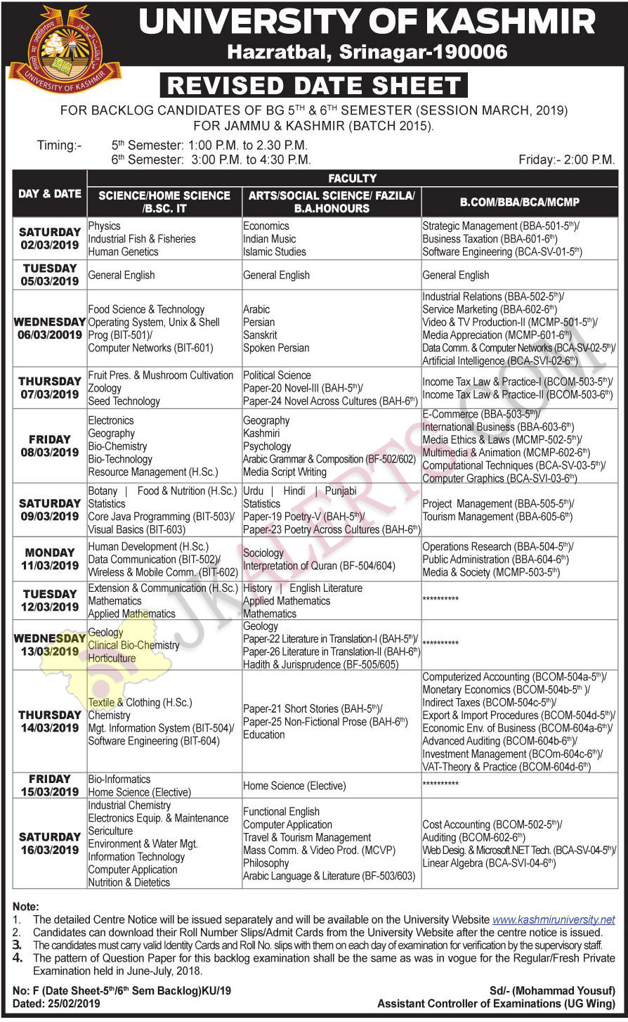University of Kashmir Revised Date Sheet March Session 2019