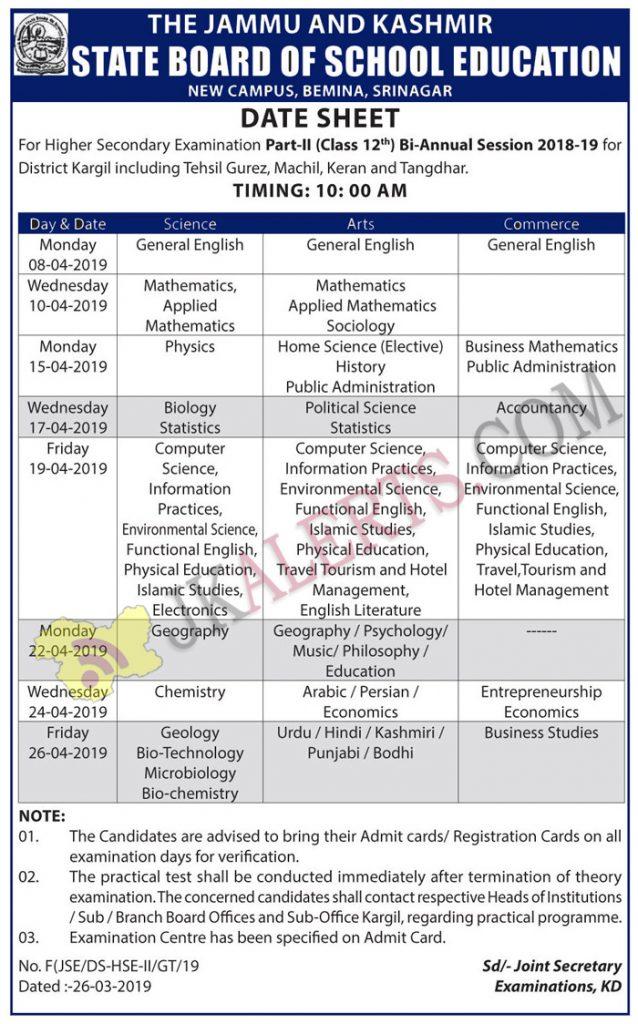 JKBOSE Date Sheet For Class 12th Bi-Annual Session 2018-19