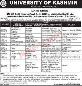University of Kashmir Date Sheet, KU date sheet, Kashmir university datesheet, KU BG 1st Year Date sheet