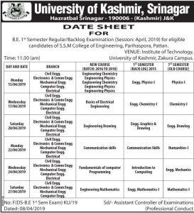 University of Kashmir, Srinagar Date Sheet