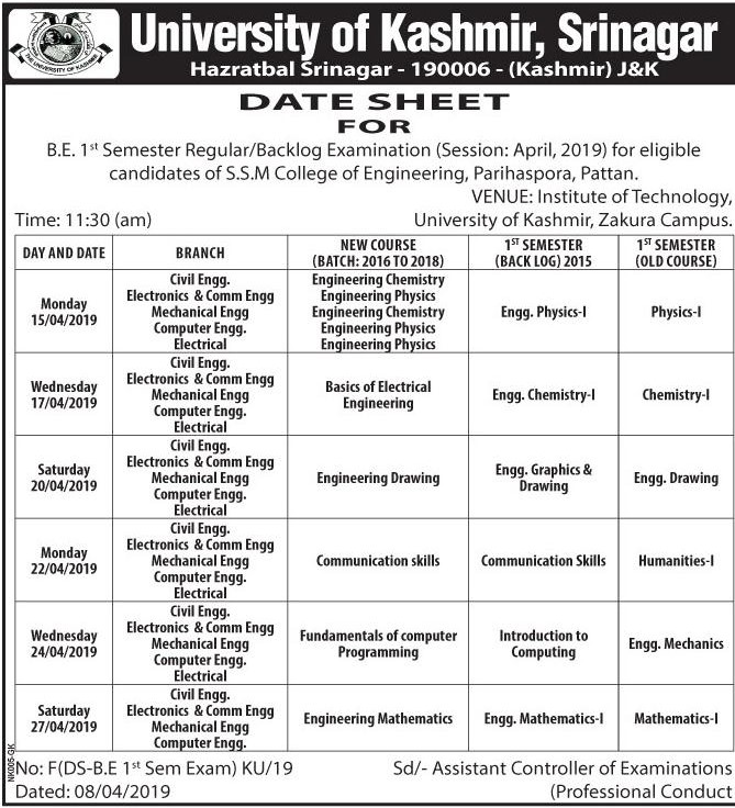 University of Kashmir, Srinagar Date Sheet