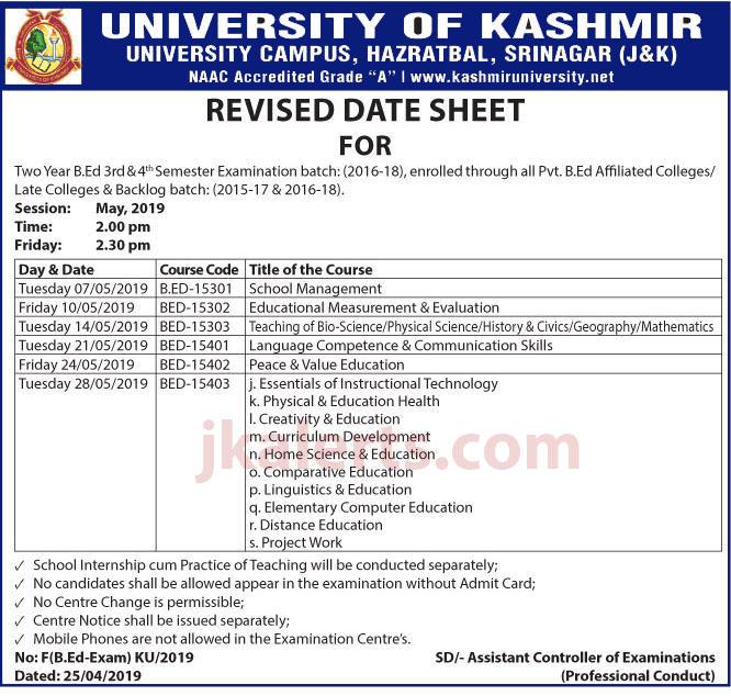University of Kashmir Revised Date Sheet B.ed Semester Exam.