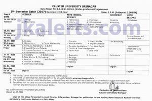 Cluster University Srinagar Date Sheet B.A, B.Sc, B.Com under-graduate Programmes.