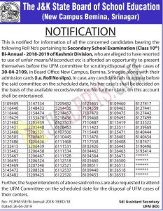 JKBOSE Notification for Class 10th Bi Annual Candidates alleged in unfair means.