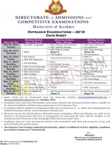 KU Entrance Examinations 2019 date Sheet