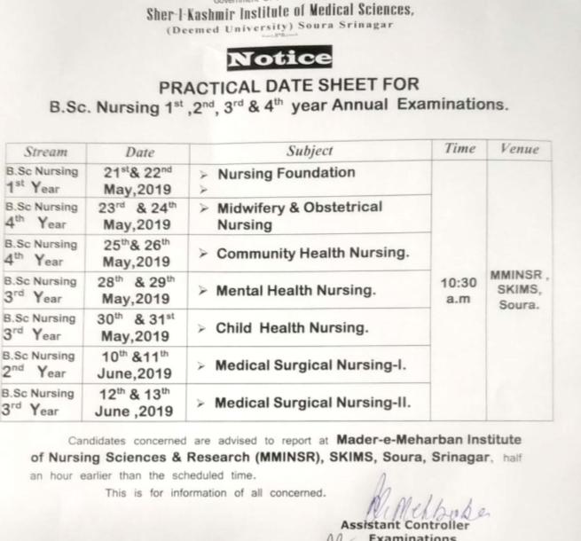 SKIMS Practical Date Sheet