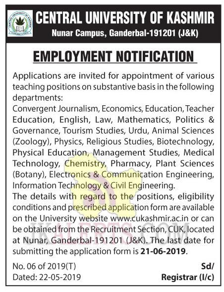 cuk jobs Notification
