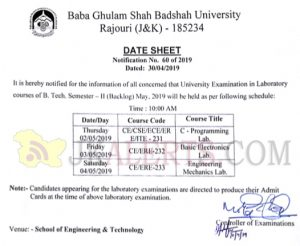 Baba Ghulam Shah Badshah University Rajouri Date sheet