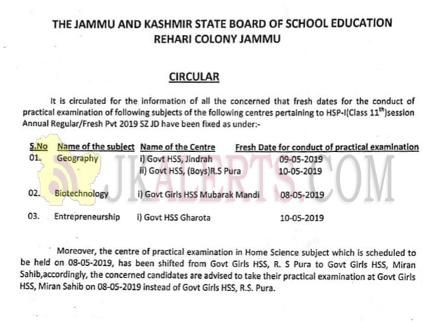 JKBOSE Circular regarding Practical Examination.