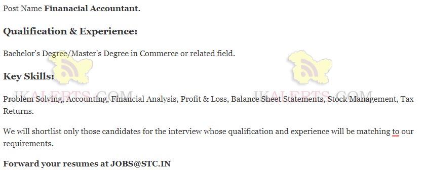 stc kashmir jobs