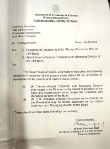 Parvaiz Ahmad Nengroo removed as Chairman/Managing Director J&K Bank