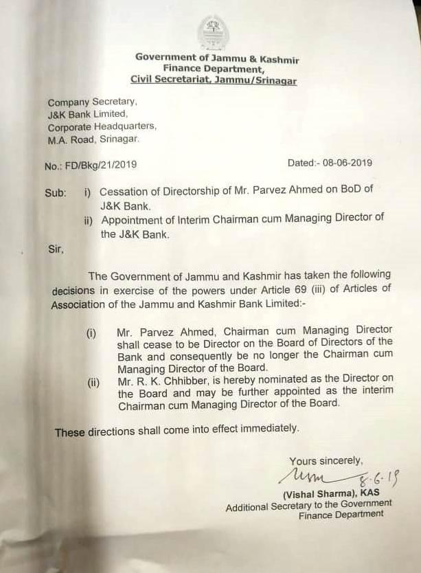 Parvaiz Ahmad Nengroo removed as Chairman/Managing Director J&K Bank