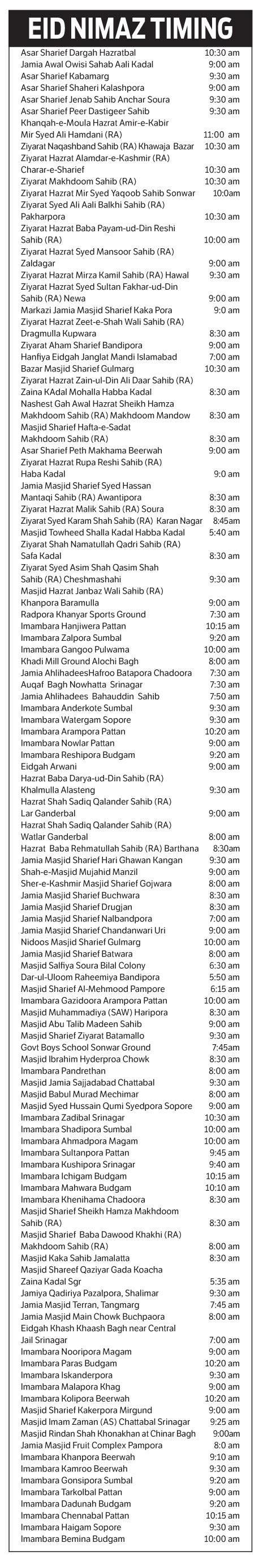 Eid timing srinagar Kashmir