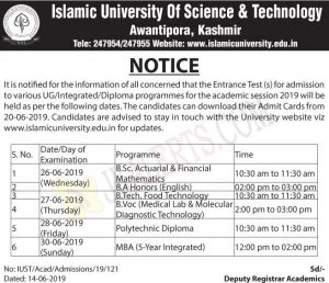 IUST Entrance Test Notification for various UG, Integrated, Diploma programmes.