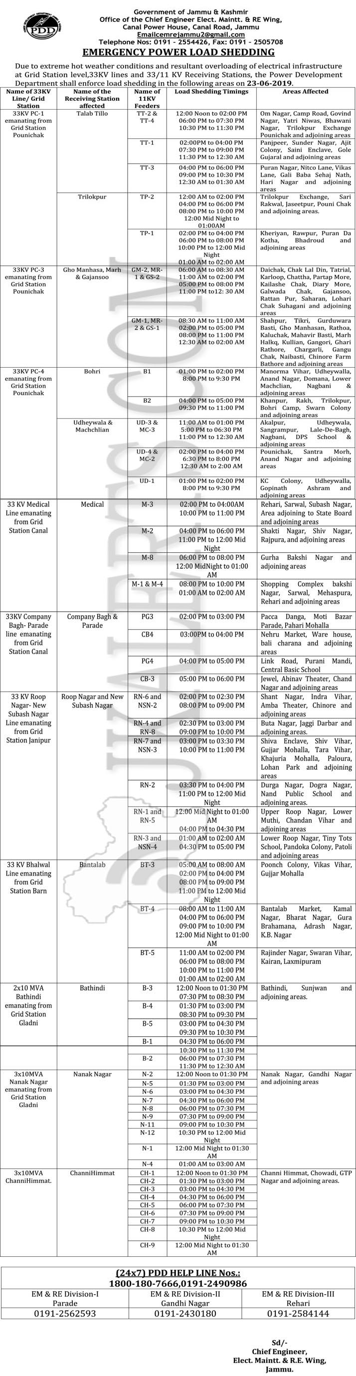 JKPDD Power Shedding Schedule for today 23 June 2019