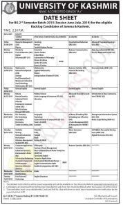 University of Kashmir Date Sheet For BG 2nd , BG 3rd Semester.