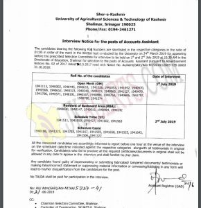 SKUAST  Interview Notice for the posts of Accounts Assistant.