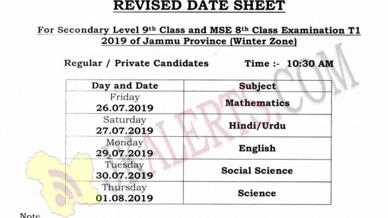 SIE Revised Date Sheet for Class 8th 9th Jammu Province