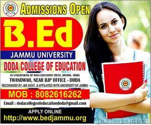Doda Admission Notification,B.ed in Doda college, Admission 2019.