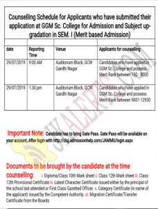 GGM Science College counselling details
