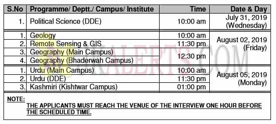 jammu university interview schedule