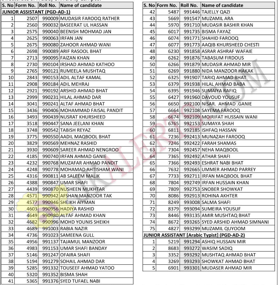 kashmir university Notification