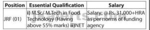 Essential Qualification  i) M.Sc/ M.Tech in Food Technology (Having above 55% marks) ii)NET