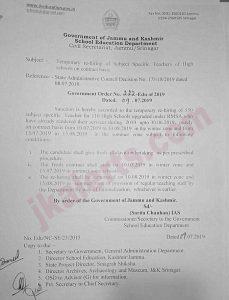 JK Govt orders re-hiring of Teachers of erstwhile RMSA scheme.