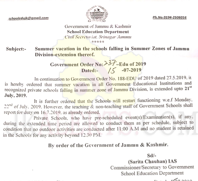 Summer vacation in the schools falling in Summer Zones of Jammu Division