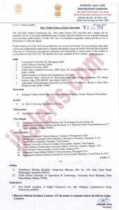 UGC today released the list of 23 fake universities in various states