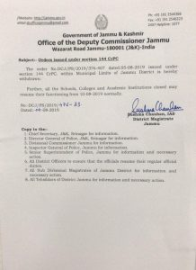 Section 144 CrPC within Muncipal Limits of Jammu District.
