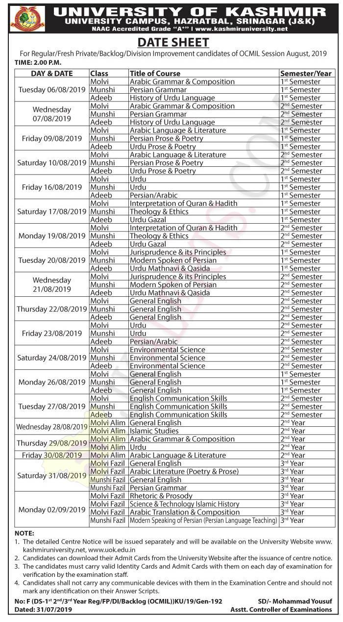 Kashmir University Date Sheet For Regular, Fresh Private, Backlog OCMIL Session