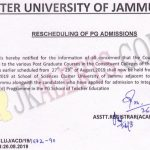 Cluster University of Jammu Rescheduling of PG Admissions 2019.