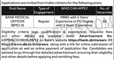 SBI Recruitment of Bank Medical Officer BMO-II.