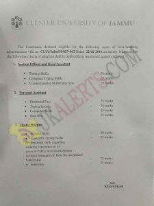 Cluster University Jammu Selection Criteria for Selection of Non teaching Posts