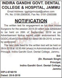 Indira Gandhi Govt dental college Jammu written test postponed