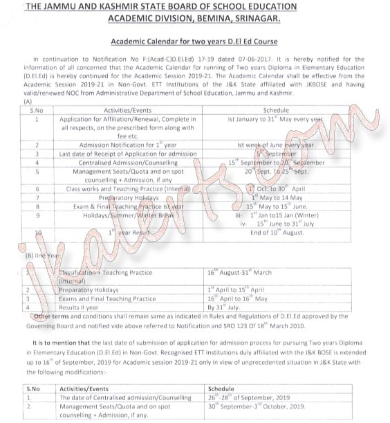 JKBOSE Academic Calendar for two years D.El.Ed Course.
