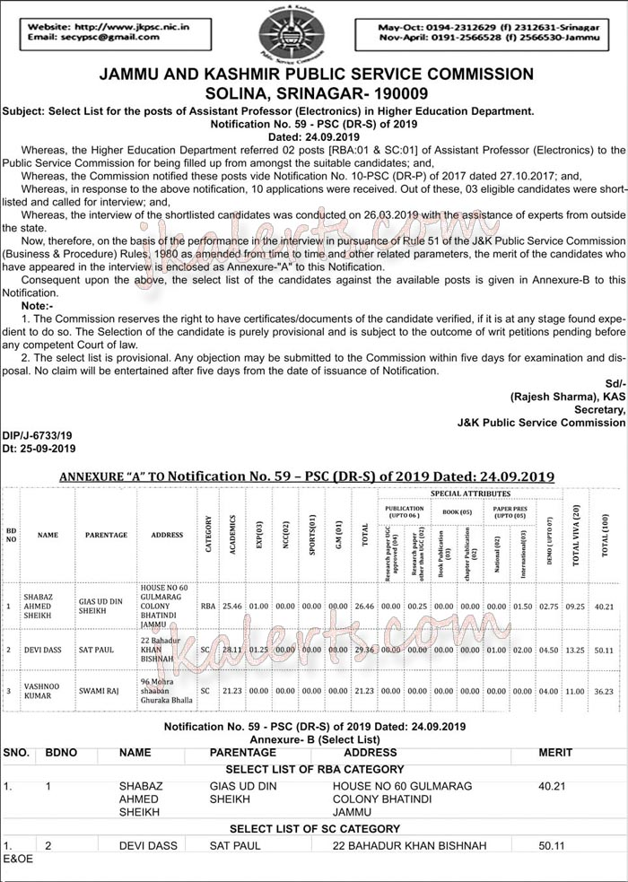 JKPSC Selection list Assistant Professor in Higher Education Department.